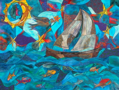 Sail On, Oh Sailboat - Through Night and Day and Twilight - Adventure Awaits, 18x24 [2012] [Kagey family]