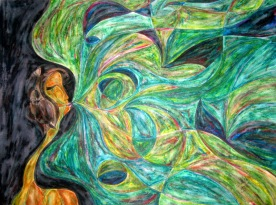 Green in Winter Series 1of5, Her Solo, 18x24 [12-2010]