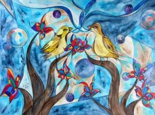 K. and C. Yellow Jay, 24x18 [2013] [Katherine Winters, Cody Winters]