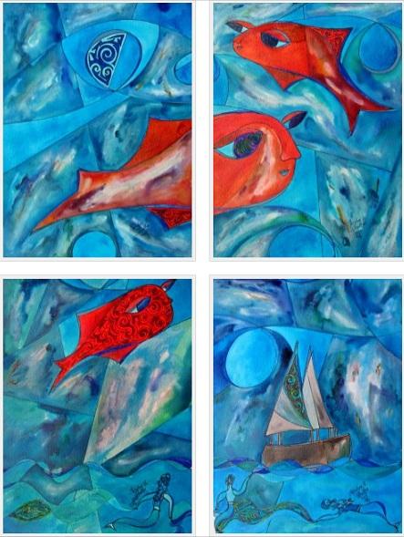 Peces en un Sueno (Fish in a Dream), 9x12 each [8-2012]