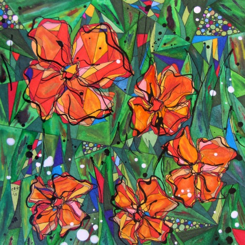 Chilean Wildflowers 1of7-Orange is for Joy - Lighthearted and Bright, Childlike - Greeting Passersby, 10x10[2013]