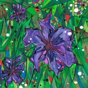 Chilean Wildflowers 3of7-Peppy Purple Blooms - Standing Tall Amidst Wild Grass - Swaying in Soft Winds, 7x7[2013]